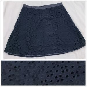 🆕 Ann Taylor Solid Black A-line Skirt Eyelet Lace
